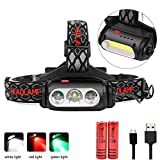 WINDFIRE Headlamp Rechargeable, COB T6 LED 360 Rotatable White/Red/Green Light Headlight Double Switch Head Flashlight with USB Charging for Night Riding Fishing Outdoor Camping