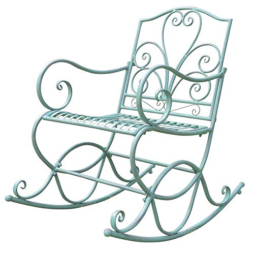 Dynamic24 Metall Schaukelstuhl Stuhl Schwingsessel Schwingstuhl Shabby Antik Look grün