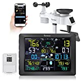 Famistar (14-in-1) WiFi Weather Station with Auto Alarm Function Internet Wireless Home Weather Station, Outdoor Weather Station Features 6.7'' x4.9'' Digital Color LCD Large Size Screen Display