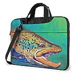 XCNGG Brook Trout Fly Fishing Laptop Bag Maletín a Prueba de Golpes Tablet Carry Handbag para Viajes de Negocios Oficina 14 Pulgadas