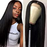 Muokass 4x4 Lace Front Wigs Straight Hair Brazilian Virgin Human Hair Lace Closure Wigs For Black Women 150% Density Pre Plucked With Elastic Bands Natural Color (26 inch, straight wig)