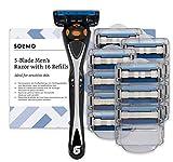 Marca Amazon - Solimo Maquinilla de afeitar de cinco hojas para hombre con 16...