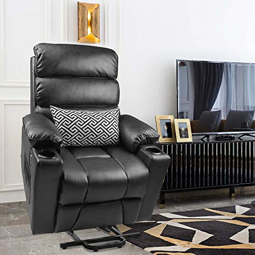 Maxxprime Electric Power Lift Recliner Chair Sofa for Senior, Elderly, with Massage and Heat, Contemporary Like Faux Leather, Dual OKIN Motor, Infinite Position Lay Flat,Cup Holder+USB Port (Black)