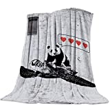 Lightweight Cozy Bed Blanket Throw Fuzzy Super Soft and Warm Throw Flannel Blankets for Couch Sofa Bed Beach Travel,Sea Turtle Panda (40 x 50 Inches)