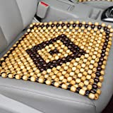 Interior Pro Car Seat Cover Wooden Beads Massage Pad Chair Breathable Cushion 17x17 inch (Beige)
