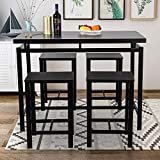5 Pieces Dining Table Set, Rockjame Modern Counter Height Pub Table with 4 Chairs, Perfect for The Bar, Breakfast Nook and Kitchen Room (Espresso)