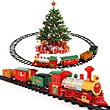 Lucky Doug Electric Train Toys Set Around Tree for Kids, Christmas Train Set with Light & Sounds Include 4 Cars and 10 Tracks, Trains Sets for 2 3 4 5 6 Years Old Boys Girls Toddlers