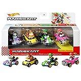 Hot Wheels Mario Kart Primera Aparición Pack con 4 Mini Coches de Juguete con Personaje, Regalo...