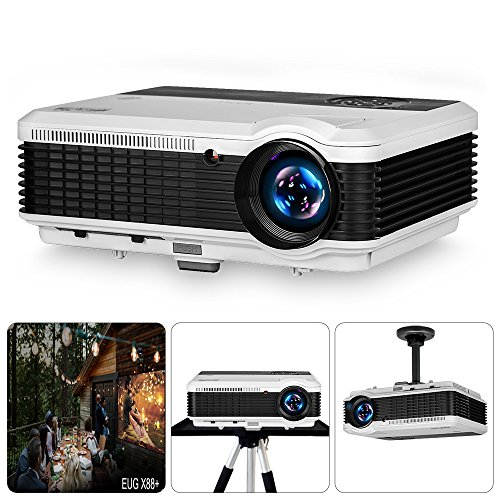 """EUG Projector 3900 Lumen 200"""" Image LCD Diaplay 1080P HD Multimedia Home Theater Video Projectors, Built-in HiFi Sound with HDMI USB VGA RCA Audio AV for Indoor Outdoor Entertainment Gaming Movies"""
