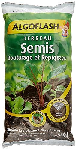 ALGOFLASH Terreau Semis, Bouturage, Repiquage, Croissance vigoureuse, Pour toutes les variétés de jeunes plants, 6 L, ATSEB6