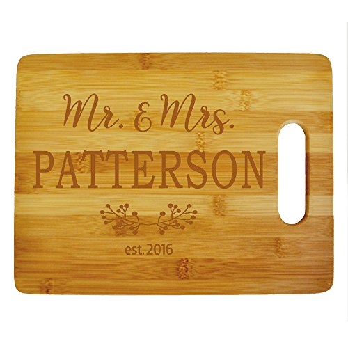 Custom Mr. & Mrs. Cutting Board - Wood Engraved Cutting...