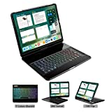 LENRICH iPad pro 12.9 case with Keyboard 2018 3rd Gen Backlit,7 Color Backlight 360 Rotatable Wireless Smart Folio 180 flip Swivel Stand Hard Shell Cover Auto Sleep/Wake Black