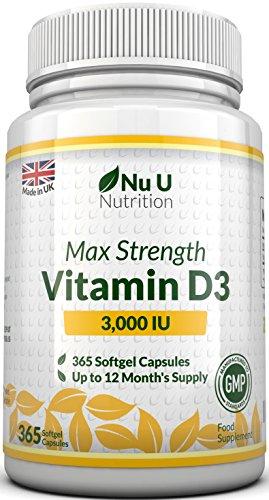 Vitamina D3 3000 UI | 365 Cápsulas Blandas (Suministro Para...