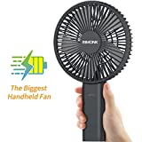 BIMONK Biggest Handheld Fan, 6Inch Battery Operated Fan, 4000mAh Battery Pack Function, 5-34H Work Time, Enhanced Airflow, 6 Setting, Foldable, Fast Charge, with Base, For Outdoor