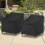 SunPatio Outdoor Chair Covers Waterproof, 2 Pack Patio Chair Covers, High Back Club Chair Furniture Covers with Air Vent / Drawstring, UV & Rip & Dust Resistant, All Weather Protector, Black (Medium)