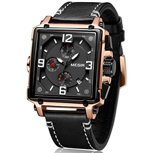 MEGIR Herren Uhren Rechteckig Schwarz Leder Armband Wasserdicht - Analog Chronograph Männer Uhren - Sport Rose Gold Edelstahl Gehäuse mit Datum