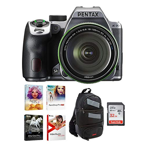 Pentax K-70 DSLR Camera with 18-135mm Lens (Silver) Bundle with DSLR Sling Bag, 32GB SD Card, and Corel Deluxe Photo Software Kit (4 Items)