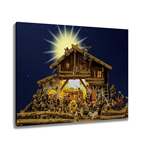 LB Birth of Jesus Christ Framed Canvas Wall Art Nativity Painting Canvas Prints Wall Decor Religious Christian Home Wall for Living Room Bedroom Bathroom Decor Ready to Hang,16x12 inches