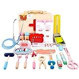 Oeasy Maletin Medico Juguete Madera, 28 Piezas Maletin Doctora Madera Juguetes con Estetoscopio, Juegos de Imitación para Niños Niña