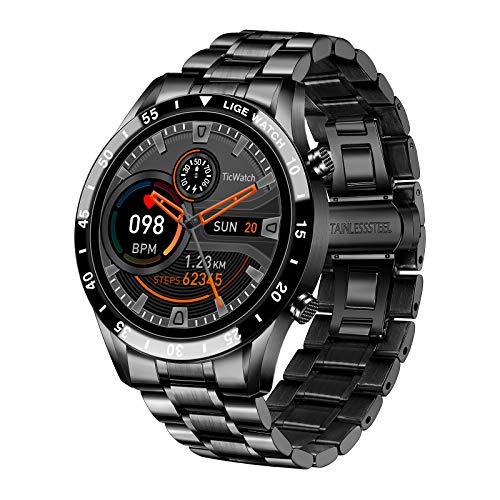 LGE Smart Watch, 1,3' Zoll Touchscreen Bluetooth Anrufen Voice Chat Fitness Tracker mit Herzfrequenz Schlafmonitor Aktivitäts Tracker IP67 wasserdichte Edelstahl Band Stopuhr für IOS Andirod