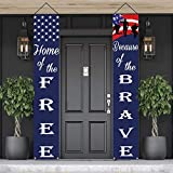 American Flag Patriotic Soldier Porch Sign Banners,Patriotic Decoration for Memorial Day-4th of July...