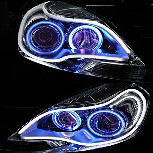 HopeU5 2x LED Auto Auto Guida del tubo 30CM Guida flessibile per strisce LED auto bicolore Impermeabile Impermeabile DRL Luce di direzione