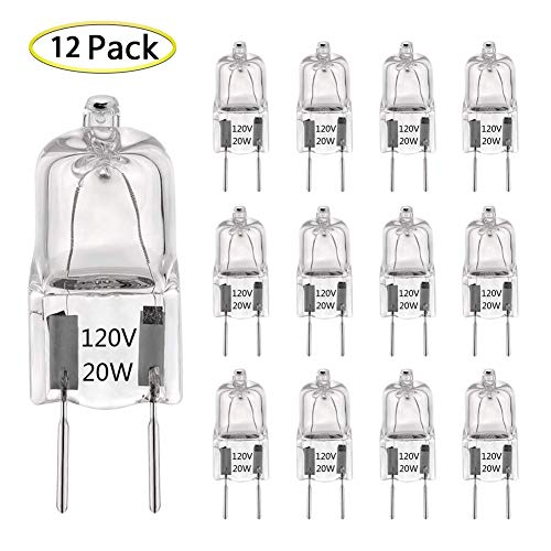G8 Halogen Light Bulb 20W 120V T4 JCD G8 Bi-Pin Base (12 Pack) Dimmable G8 Light Bulbs for Under Cabinet Puck Lights, Kitchen Hood, Microwave Oven Light, Landscape Light, Warm White 2700K-3000K