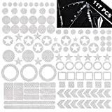 KeeForthewin 117PCS High Intensity Reflective Stickers Diamond Grade Waterproof Reflector Decals for Helmet Bicycle Frame Motorcycle Strollers Trailers Pedals Hard Hats Cars Bumper (Silver)