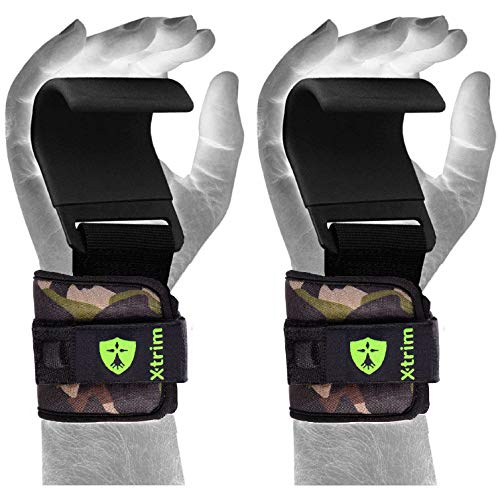 XTRIM Steel Thick Neoprene Padded Dura Lift -Heavy Duty Metal Hooks -Best Power Weight Lifting, Dead Lifting, Cross-Training Premium Workout Hook -Training Gym Hook Straps - Set of 2