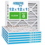 Aerostar Clean House 12x12x1 MERV 8 Pleated Air Filter Made in the USA Actual Size 11 3/4'x11 3/4'x3/4' 6 Pack