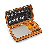 Truweigh TUFFWEIGH Digital Mini Scale (100g x 0.01g - Orange/Black) - Rubberized Impact Resistant Digital Kitchen Scale - Travel Digital Pocket Scale - Digital Food Scale - Small Digital Scale