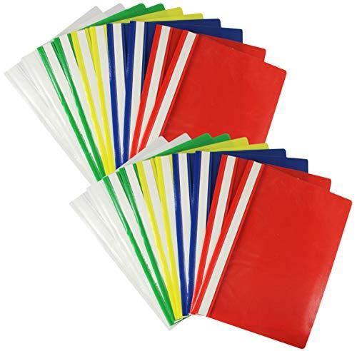 com-four Cartella 20x A4 - Cucitrice con Etichette adesive - Cucitrice in plastica per Scuola, Ufficio e casa - Senza PVC (20 Pezzi - Colorati)