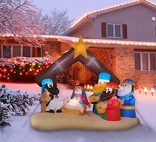 Fraser Hill Farm 6.5-Ft. Wide Nativity Scene, Blow Up Inflatable with Lights and Storage Bag, FHFNVTY071-L