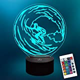 Lampeez Kids 3D Surfing Night Light Optical Illusion Lamp with 16 Colors Changing Remote Birthday Gift Idea for Sport Fan Boys Girls