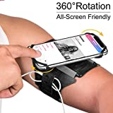 VUP Running Armband for iPhone 11 Pro Max X XR XS 8 7 6 6s Plus,Galaxy S10 S9 S8 Plus, Note 9/8/5/4,Google Pixel 3/2 XL,360Rotatable with Key Holder Phone Armband for Hiking Biking WalkingBlack)