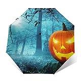 Paraguas automático a prueba de viento para niños, mujeres y hombres, paraguas de golf con mango ergonómico, botón de apertura y cierre automático, paraguas de calabaza de bosque de Halloween