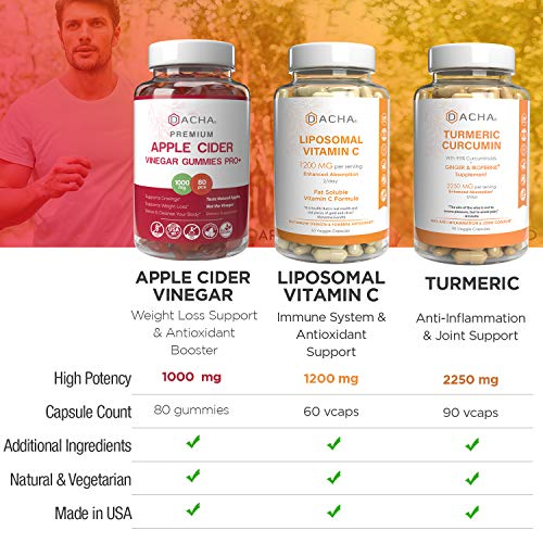 Supreme Immune Boosters, Anti inflammatory Bundle – Apple Cider Vinegar Gummies with Mother, Turmeric Curcumin Standardized, Liposomal Vitamin C Plus Ascorbyl Palmitate, High Potency Natural Pills 2