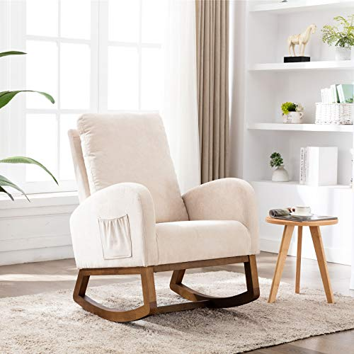 Dolonm Rocking Chair Mid-Century Modern Nursery Rocking Armchair Upholstered Tall Back Accent Glider Rocker for Living Room (Beige)