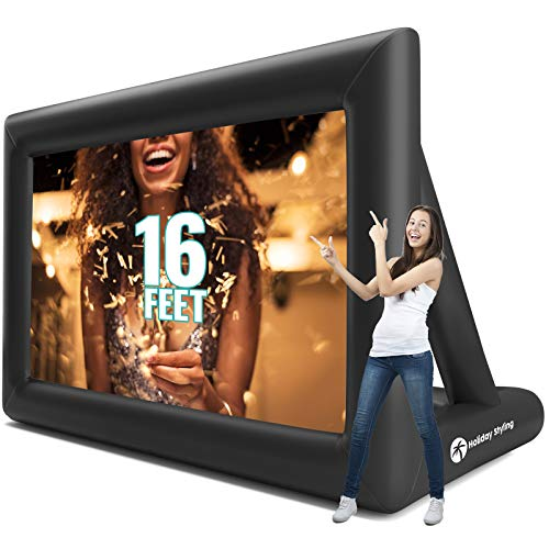 Inflatable Movie Screen - Outdoor Projector Screens 16Ft Diagonal - Strong Thick 600DD Frame Built to Last - Package Inc Frame Blower Ropes Tent Stakes by Holiday Styling