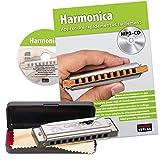 CASCHA Set Harmonica débutant avec méthode d'instruction française, apprendre à jouer...