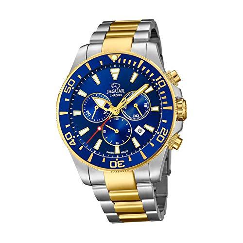 JAGUAR Uhrenmodell J862 / 1 aus der Executive-Kollektion, 43,5 mm blaues Gehäuse mit zweifarbigem Stahlarmband für Herren J862/1