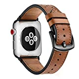 "COMPATIBILITY: This brown leather apple watch strap works with all versions of Apple Watch in 42mm or 44mm case. It fits wrist sizes: 5.6""-8.5"" PREMIUM LEATHER: Comfortable and breathable genuine Calfskin soft leather with anodized black stainless st..."