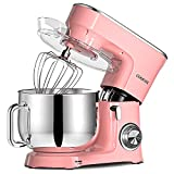 COOKLEE Stand Mixer, 9.5 Qt. 660W 10+1 Speeds Electric Kitchen Mixer with Dishwasher-Safe Dough Hooks, Flat Beaters, Wire Whip & Pouring Shield Attach, Pink
