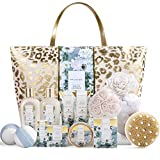 Spa Gift Baskets, Spa Luxetique Spa Gifts for Women, Luxury 15pcs Spa Gift Set Includes Bath Bombs, Essential Oil, Hand Cream, Bath Salt and Handmade Tote Bag