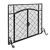 Knocbel 43.7x33in Mesh Fireplace Screen with Double Doors, Wrought Iron Panel Fire Spark Guard Gate Safety Protector (Black)