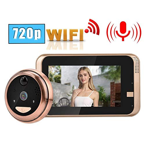 Video Timbre, 4.3in 720P HD LCD Mirilla Digital Cámara Visor de cámara WiFi inalámbrico Video Timbre Intercomunicador con visión Nocturna IR/Detección de Movimiento PIR