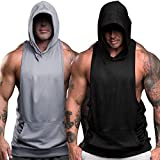 nine bull Men's Workout Hooded Tank Tops Sleeveless Gym Hoodies Bodybuilding Muscle Sleeveless T-Shirts