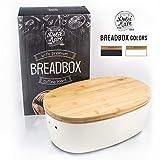 'Dolce Mare Boîte à pain en bambou - Jolie boîte à pain - Caisse à pain très pratique - Panier à pain en bois - Boîte à pain - Pot à pain - Bread bin - Bonne idée de cadeau' (blanc)