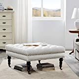 BELLEZE Ottoman 33' Foot Rest Bench with Rolling Wheels Upholstered Padded Cushion Stylish Button Tufted Fabric, Beige