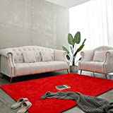 BENRON Soft Fluffy Modern Area Rugs, 4x5.9 Feet Shag Rug for Bedroom Living Room Decor, Plush Boys Girls Kids Room Carpets, Solid Nursery Floor Carpet, Red